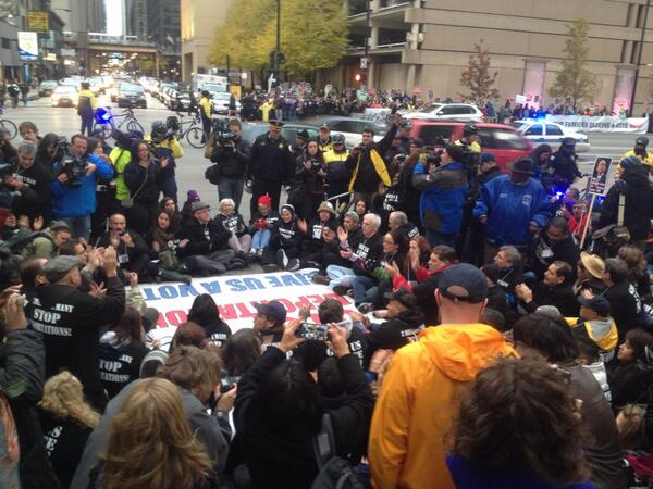 """@icirr: We have taken Congress Parkway. Arrests are imminent as police giving warnings. #ILisReady #TimeIsNow http://t.co/4uDm0M0q3l"""
