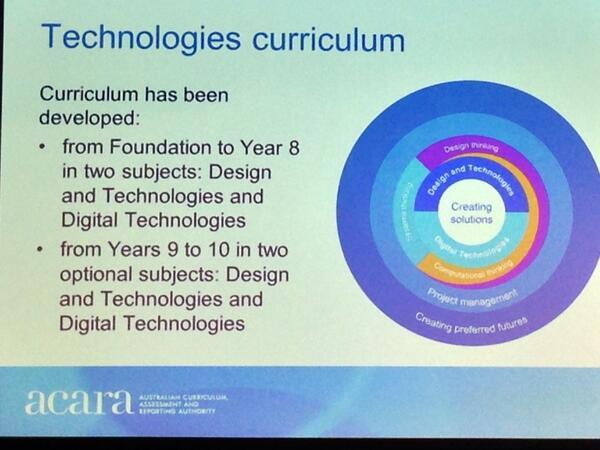 Hearing an update of the Digital Technologies Curriculum from ACARA's Julie King #googledigiteach #vicPLN http://t.co/ZkRSwTA3uI