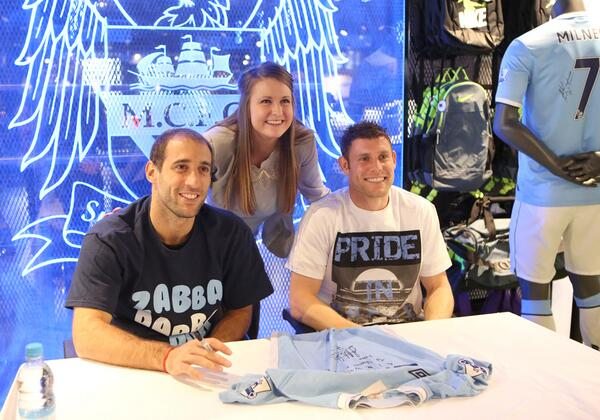 Manchester city on twitter meet and greet one lucky fan poses manchester city on twitter meet and greet one lucky fan poses between james milner and pablozabaleta and bags herself a priceless memento m4hsunfo