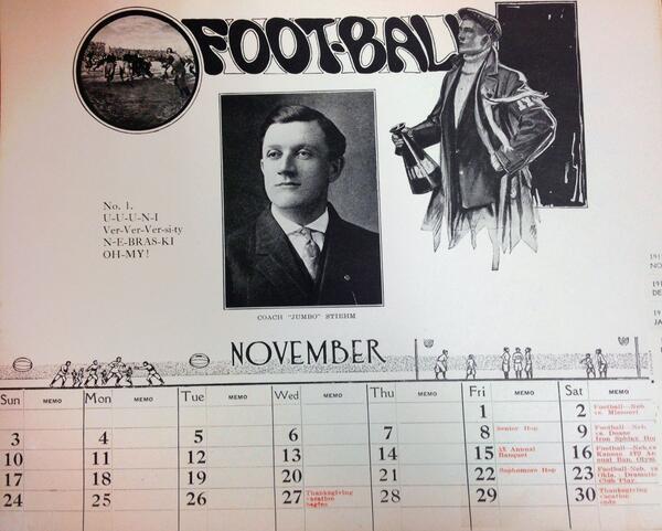 MT @UNLarchives: #UNL Nov. calendar, 1912. Senior hop on the 8th-101 yrs ago tomorrow. How will you spend your Fri? http://t.co/eSIekNjmuO