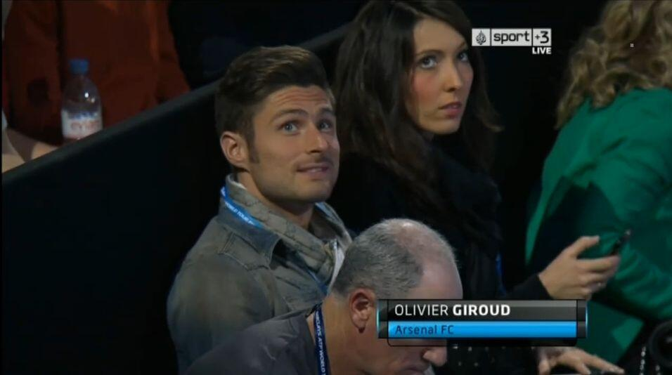 Olivier Giroud in the crowd watching Federer vs Gasquet