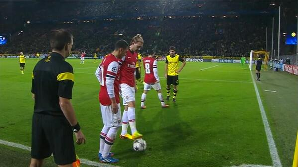 Nicklas Bendtner produced the most ridiculous offside call at end of Arsenal win at Dortmund