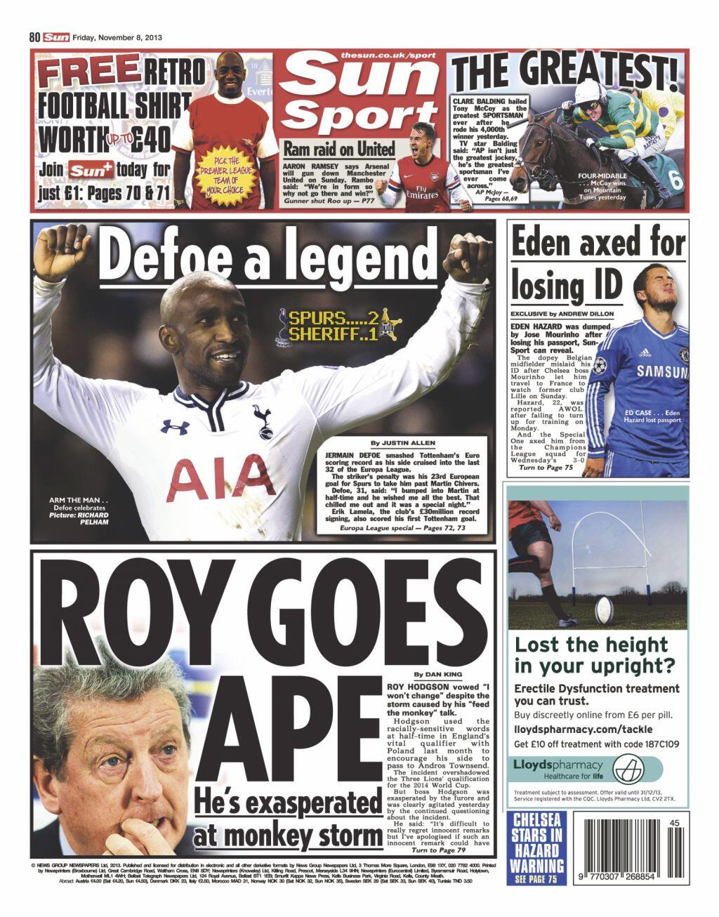 Fridays Sun Sport: Roy Goes Ape: Hodgson exasperated at monkey storm