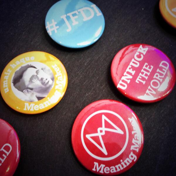 Badges. Come and make yourself a #Meaningconf badge. http://t.co/7Os1tknsM1