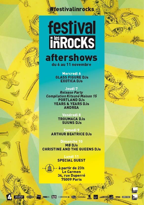 Aftershow du festival des Inrocks day 3, ce soir dj set de @TROUMACA et @Suunsband cc @inrocksLive #FestivalinRocKs http://t.co/yh4ko1OBYB