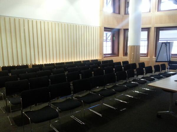 Here's room for #solo13wiki #Wikipedia workshop I'm running with @tonisant at #solo13. Not ideal for handson session http://t.co/wybBVVotMr