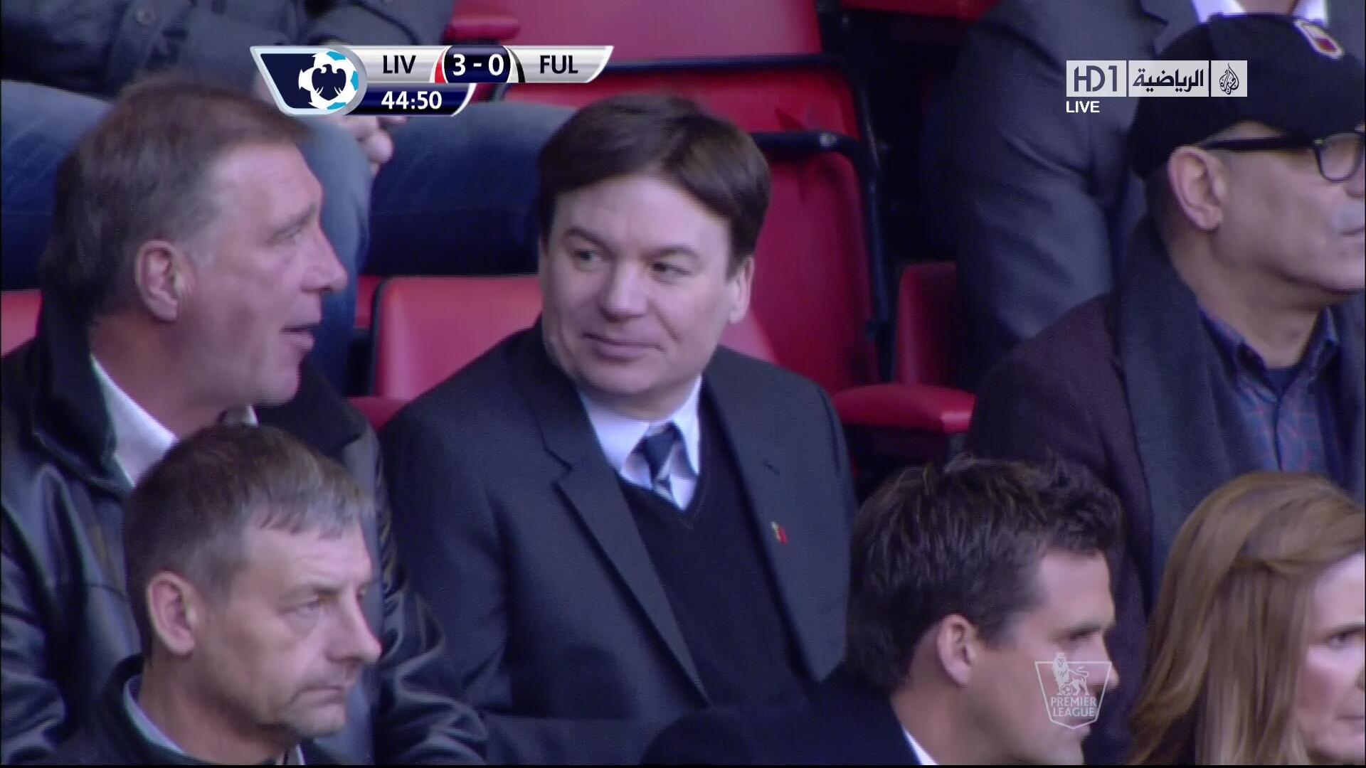 Groovy Baby! Mike Myers watches LIverpool v Fulham