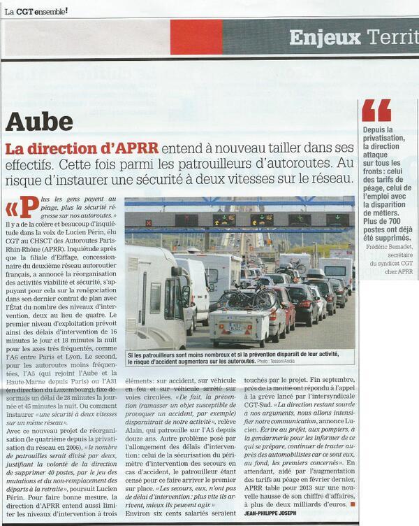 """Article""""La CGT ensemble"""" Gardons notre niveau de surveillance et de sécurité sur les autoroutes APRR ! @Ministere_DD http://t.co/LpNeWuGz3q"""