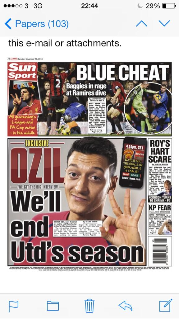 Sun back page   Ozil: Well end Uniteds season