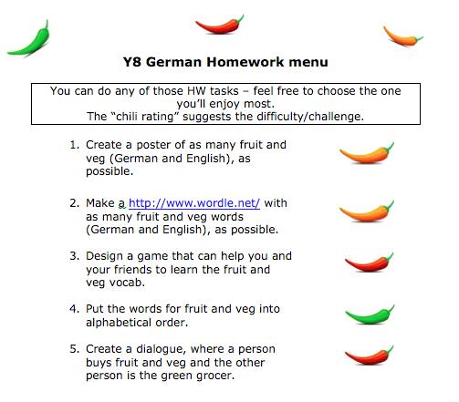 takeaway homework mfl