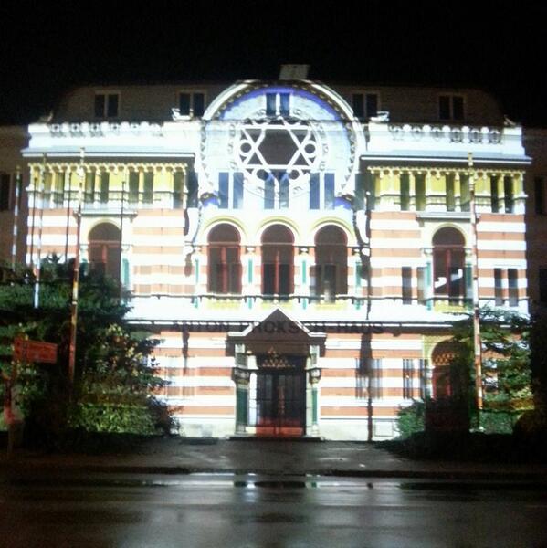 projektion der neustäder synagoga gestern anlässlich des gedenkens der novemberpogrome #9nov38 http://t.co/nP07gn2nUo