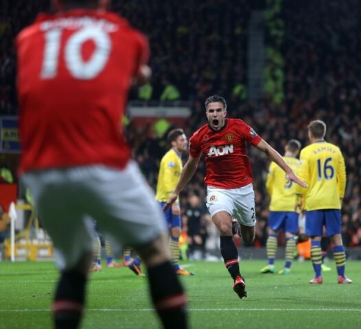 Great picture: Robin van Persie running towards Wayne Rooney celebrating goal v Arsenal