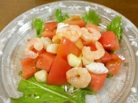 水菜とトマトのシーフードミックスサラダ♪