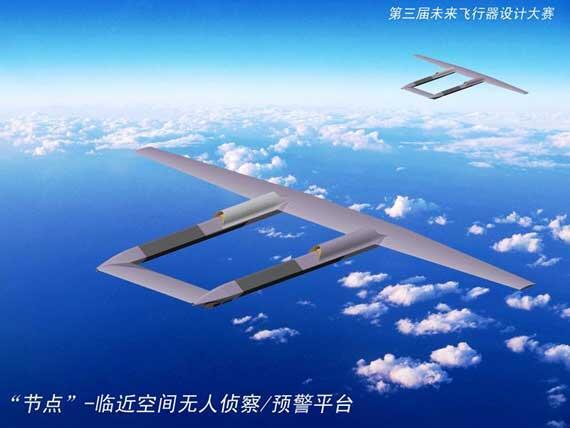 時空要塞(じくうようさい)。中華人民共和国にて2008年に開催された航空機デザイン大会に出展された架空の兵器システム。長時間滞空型の大型無人機でミサイルのプラットフォームなどに使用可能とのこと。巡航速度はM0.82。