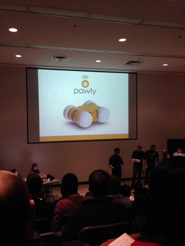 Would you get a pawly? A robotic interaction with your dog with live camera feeds. #swtoMaker #GSB2013 http://t.co/ex17X1Kq57