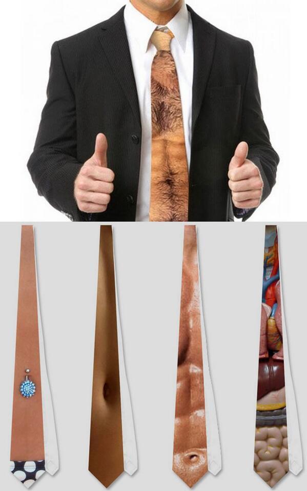 胸元が透けてみえるデザインのネクタイいろいろ。胸毛やムキムキの腹筋だけでなく内臓までも…。
