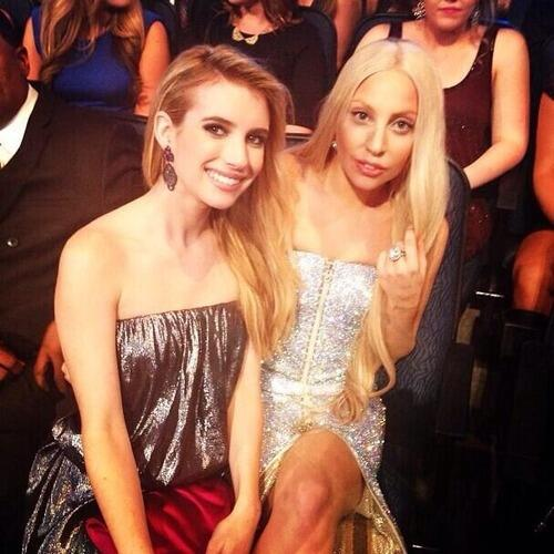 Lady Gaga and Emma Roberts tonight! #AMAs http://t.co/ySMZczKsgV