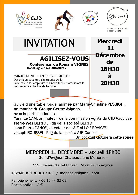 Conférence GERME/CJD sur l'agilité 11 décembre au golf de morières les Avignon