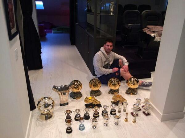 Lionel Messi and a host of his awards & medals (Posted by his brother Matias on Twitter)