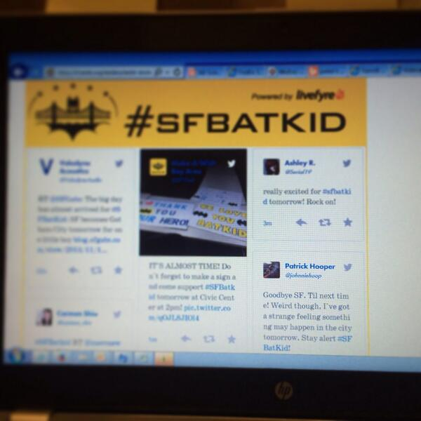 Went to @SFWish website & happened to see @johnniehoop tweet featured at the top! 1 of many cheering on #SFBatKid http://t.co/WOXYVPOU1K