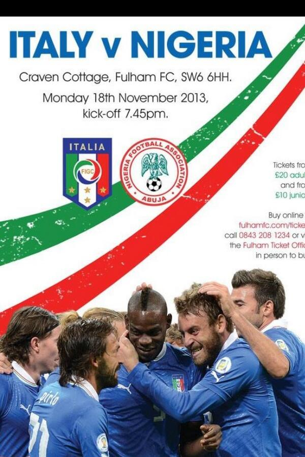 Italy v Nigeria: Watch a Live Stream of the international friendly   available in UK [18/11/2013]