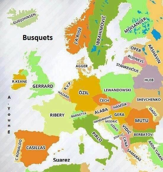 ... menghafal peta benua Eropa ...