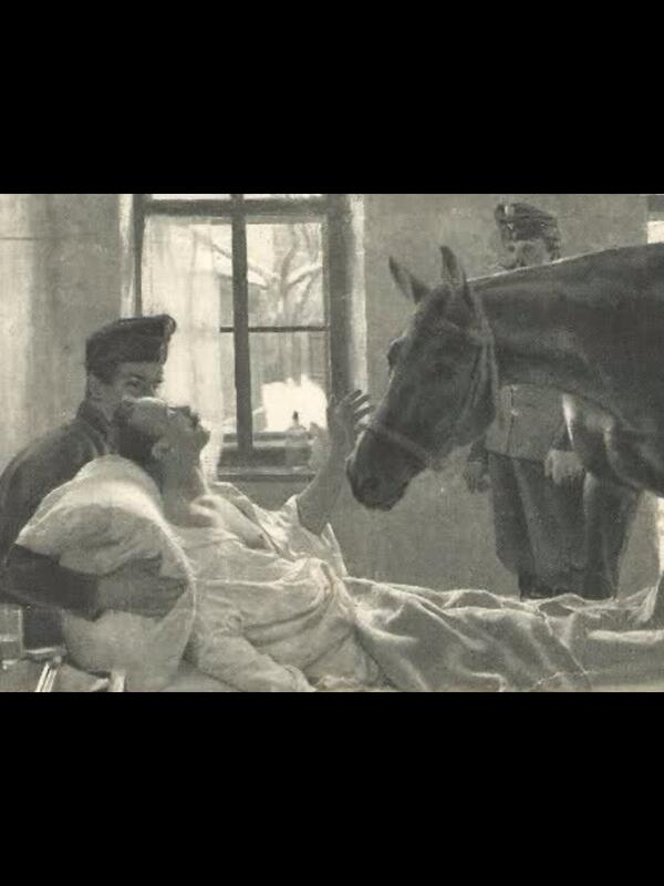 Very moving image: This wounded WW1 cavalryman receives a special visitor: his horse #WW1 http://t.co/JbPUGcyH2o via @alextijhuis #WW1