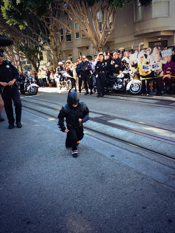 The city of Gotham is safe thanks to #SFBatkid!! RT @SFWish Here he comes!!!! #SFBatkid http://t.co/5LNLvk3bKD