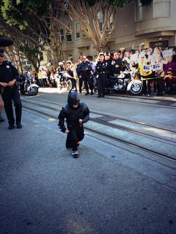 #FollowFriday RT @SFWish: Here he comes!!!! #SFBatkid http://t.co/pMn3gRHcLo