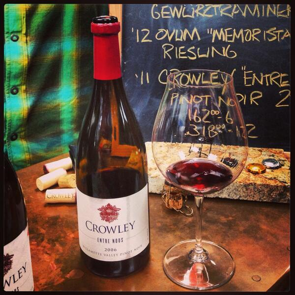 The 2011 & 2006 @CrowleyWines Pinot Noir are night & day. Hold onto that '11 & love it. #wine #winery #pdx http://t.co/RTvOm3pjQw