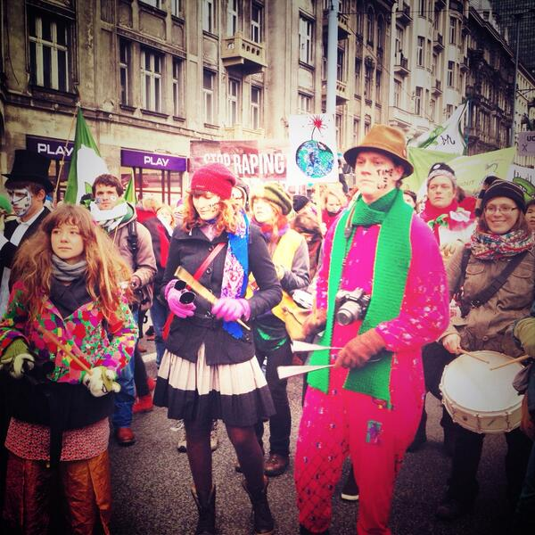 Climate justice march led by samba beats #ClimateJustice #COP19 http://t.co/SJ3Y4kN69N