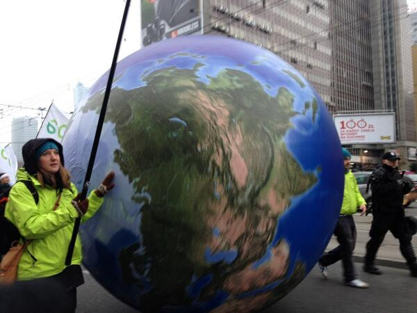 The whole world is at this climate justice march #wow #COP19 #warsaw http://t.co/aVZL3MxE4C