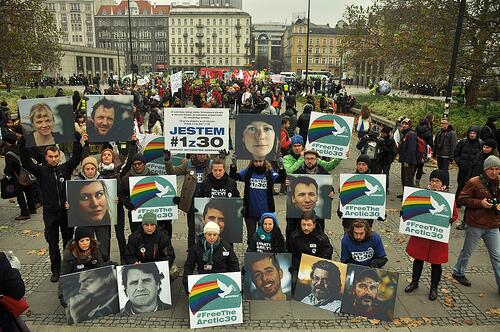 .@UN_climatetalks hundreds march in #warsaw #PL to demand #COP19 climate action and support #arctic30 #climatemarch http://t.co/7iTw3stTi9