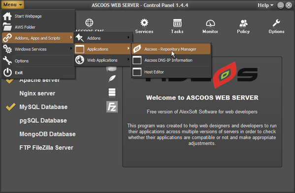 ASCOOS Web Server full screenshot