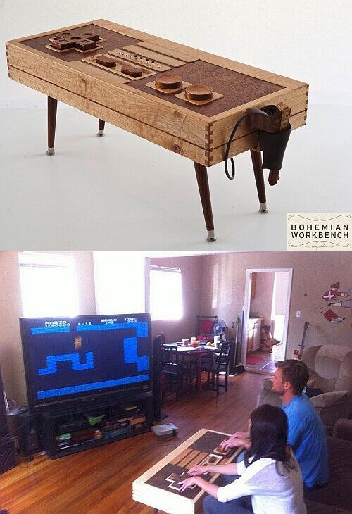 ファミコンや Wii のコントローラーになるコーヒーテーブル。スピーカーや振動機能もついてるそうです。