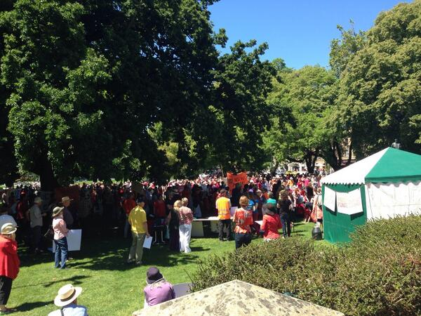 At climate change rally in Hobart.  Crowd starting to arrive. #climateaction http://t.co/2EglLfxQd4