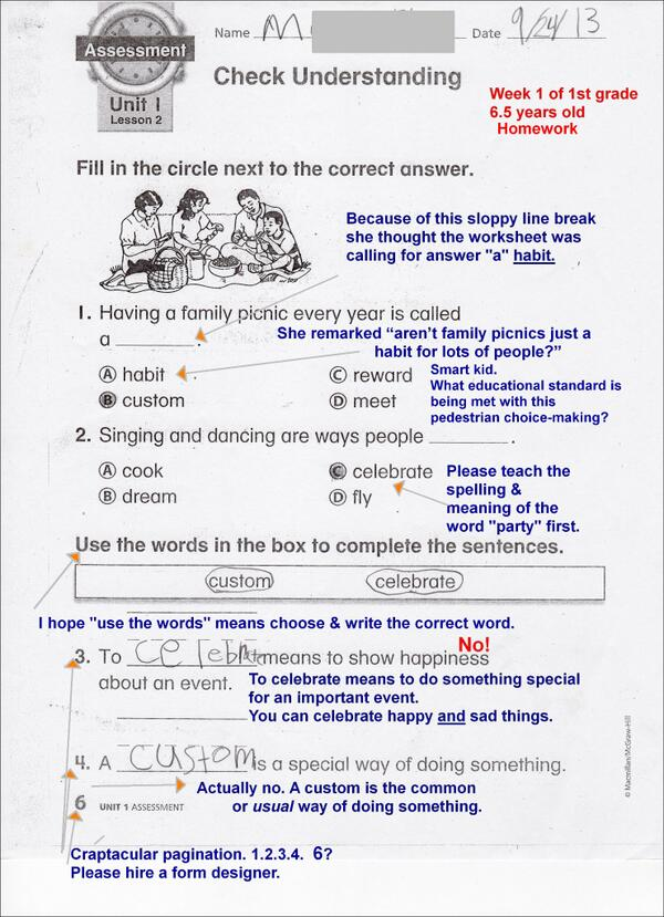 """""""@TheeErin: @garyrubinstein  1st grader's common core homework scanned with family commentary added. http://t.co/l9F45TdwcB"""" #WorkbookWars"""
