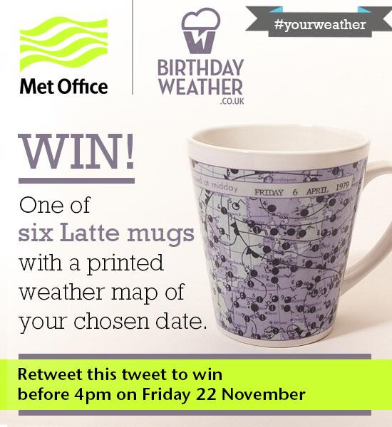 Retweet this tweet before 4pm Friday to win one of six Latte mugs T&Cs:http://t.co/l89qGzcqeD #yourweather http://t.co/6BsGygbh0b