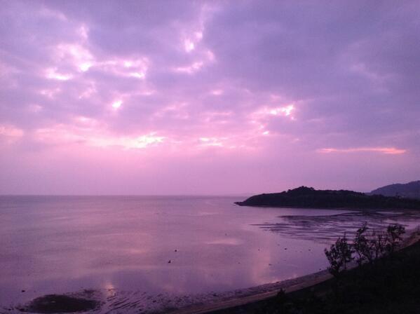 紫陽花(あじさい)っていう漢字は、こんな空から生まれたんかなあ。