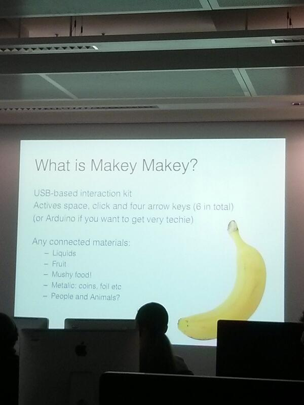 Insight into what is #makeymakey for the audience at #gallerycamp13. What does #makeymakey do for you? #letsmakestuff http://t.co/aYOZpCmT4j