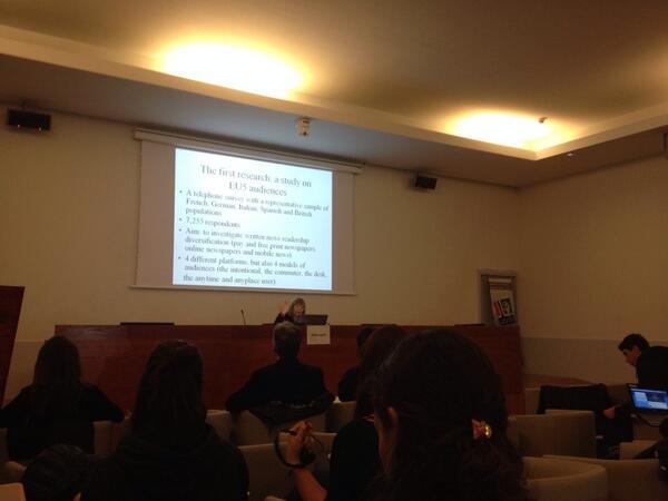 Leopoldina Fortunati durante su ponencia en el V Congreso Internacional  de Ciberperiodismo y Web 2.0 #ciberpebi http://t.co/ZmhtqnuUHl