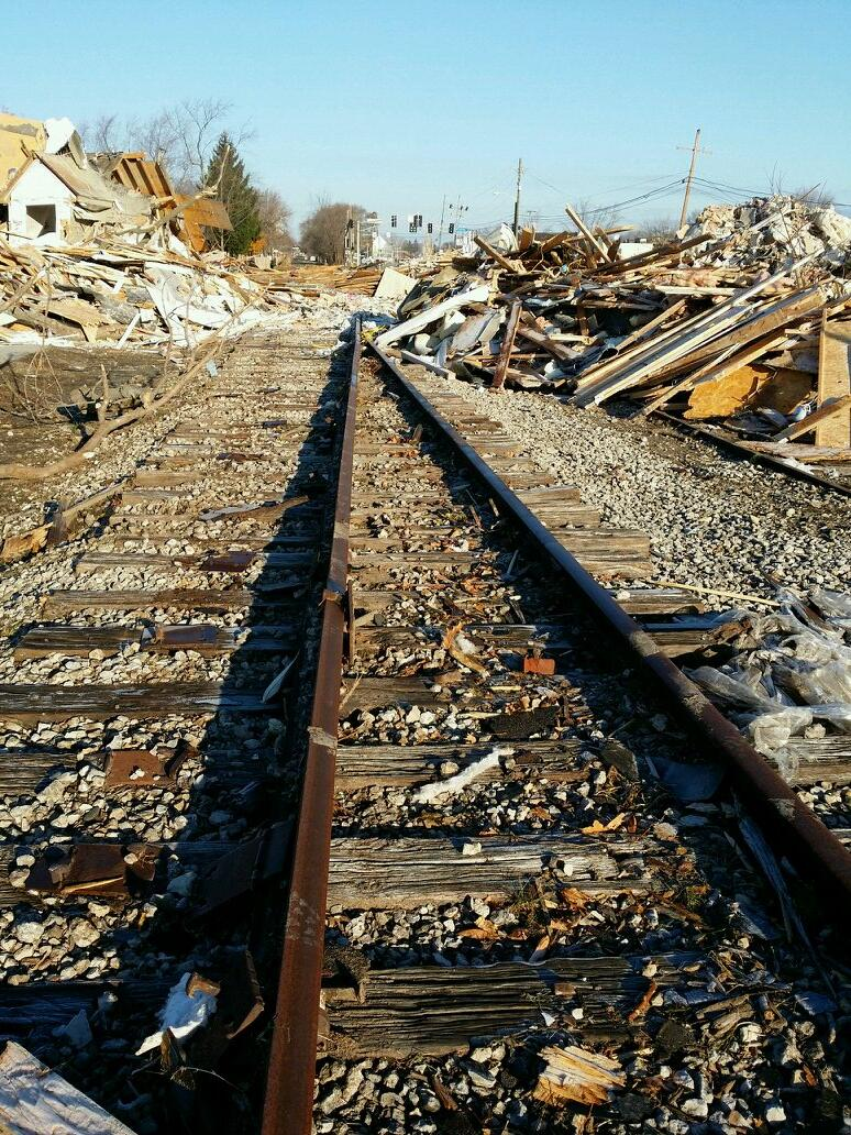 Photograph of bent track rail in Kokomo