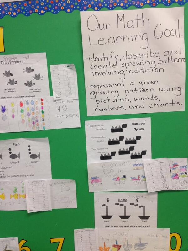 Exploring growing + shrinking patterns as part of our 3 part math lessons focused on inquiry #tvadmin #visiblelearn http://t.co/bGRUG1Vn1r