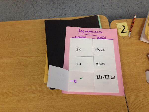Our jr. French student were using foldables to work on word endings for avoir and etre.  #tvadmin #visiblelearn http://t.co/hEGv7nHorX