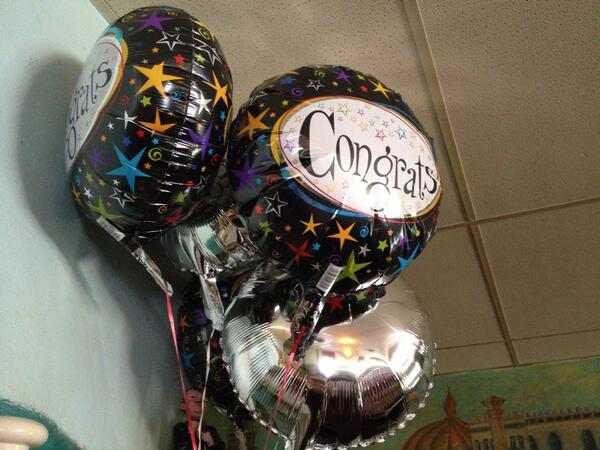 Like the Congrats balloons #pizzaparty http://t.co/dhvy6QWWik