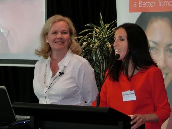 Belinda Gorman from @MicrosoftNZ kicking off #MStech4goodNZ with Heather Mansfield from @nonprofitorgs #nptech http://t.co/UJM617YH4o