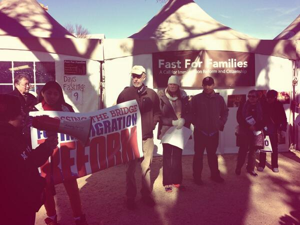 VA marchers arrive from Arlington to #fast4families asking for just #immigrationreform day 9 of fast http://t.co/s6Cs0W5hv5