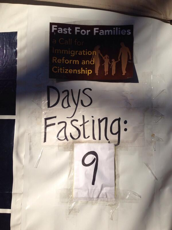 Activists with @fast4families have not eaten in 9 days!! Tell Congress we are hungry for reform! #TimeIsNow #p2c http://t.co/IJ8kF4SMPt