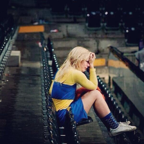 A Swedish girl sat alone crying in the stadium after Sweden failed to qualify for the World Cup