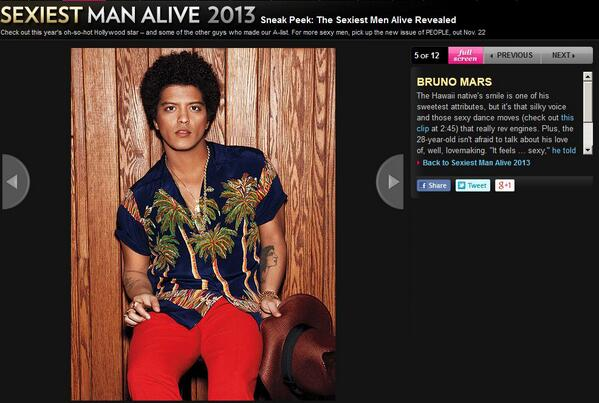 YES YES YES ! @BrunoMars is one of the #sexiestManAlive #PeopleMag http://t.co/AeOC6kCMFf